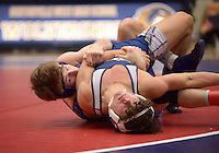 NWA Democrat-Gazette/BEN GOFF @NWABENGOFF<br /> Jake Turner (left) of Rogers and Dylan Wilson of Greenwood compete in the 138 weight class final Saturday, Feb. 11, 2017, during the Big West Conference wrestling tournament at Wolverine Arena in Centerton. Turner won the match.