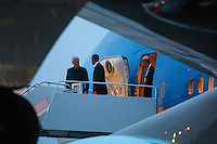 Former United States President Bill Clinton (L), US President Barack Obama (C), and US Secretary of State John Kerry (R) walk off Air Force One upon their returns to Andrews Air Force Base form Israel, where they attended the funeral of Shimon Peres, in Maryland, USA, 30 September 2016.<br /> Credit: Jim LoScalzo / Pool via CNP /MediaPunch