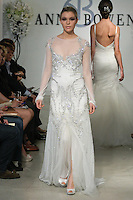 "Model walks runway in a St. James Bridal gown - clear crystal beaded gown with blouson detail, from the Anne Bowen Bridal Spring 2013 ""Coat of Arms"" collection fashion show, during Bridal Fashion Week New York April 2012."