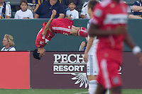 Chicago Fire midfielder Marco Pappa does a flip during his goal celebration. The Chicago Fire beat the LA Galaxy 3-2 at Home Depot Center stadium in Carson, California on Sunday August 1, 2010.