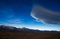 Sierra wave - Lenticular cloud in Sky over Sierra Nevada mountains just after dusk, California, USA