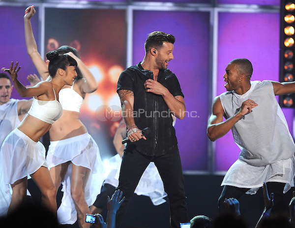 LAS VEGAS, NV - MAY 18: 5 Ricky Martin performs on the 2014 Billboard Music Awards at the MGM Grand Garden Arena on Sunday, May 18, 2014 in Las Vegas, Nevada.PGMicelotta/MediaPunch