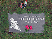 Jun 06, 2004; Lake Forest, California, USA; The gravesite of  Nicole Brown Simpson located in this small Orange County  cemetary near her family. Nicole Brown Simpson (1959-1994),  wife of O.J. Simpson, and murder victim in the infamous case  that dominated the news throughout the mid 90's. June 12,  2004 will mark the 10th anniversary of her death.