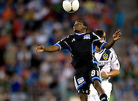 Marvin Chavez of Earthquakes controls the ball in the air during the game against Galaxy at Stanford Stadium in Palo Alto, California on June 30th, 2012.  San Jose Earthquakes defeated LA Galaxy, 4-3.