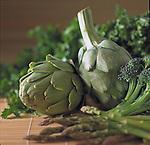 green artichokes, broccoli, asparagus