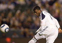 LA Galaxy forward Edson Buddle heads on goal. The LA Galaxy defeated DC United 2-1at Home Depot Center stadium in Carson, California on Saturday September 18, 2010.