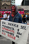 Mexican protesters attend a meeting to demand justice for the photojournalist Ruben Espinosa, at the Hemiciclo a Juarez Monument in Mexico City, August 8, 2015. Espinosa was shot to death on July 31, 2015 along with four women in a Mexico City's middle-class neighborhood. Photo by Heriberto Rodriguez