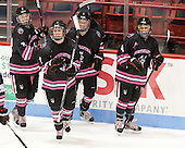 Jordan Hampton (NU - 8), Brittany Esposito (NU - 7), Kelly Wallace (NU - 5), Maggie DiMasi (NU - 4) - The Northeastern University Huskies defeated the visiting Providence College Friars 8-7 on Sunday, January 20, 2013, at Matthews Arena in Boston, Massachusetts.