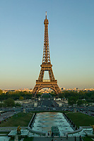 Eiffel Tower under fading afternoon light, Paris, France