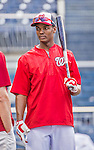 22 May 2015: Washington Nationals outfielder Michael Taylor awaits his turn in the batting cage prior to a game against the Philadelphia Phillies at Nationals Park in Washington, DC. The Nationals defeated the Phillies 2-1 in the first game of their 3-game weekend series. Mandatory Credit: Ed Wolfstein Photo *** RAW (NEF) Image File Available ***