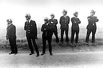 Police reinforcments Miners Strike 1984 Gasgoine Pit Yorkshire . They are waiting for the so called Scabs - working Miners to arrive my coach and be bused in to work.
