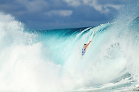 Tuesday August 16, 2010. The  Air Tahiti Nui Von Zipper Trials  wrapped today at Teahupo'o  in the south west corner of Tahiti, French Polynesia.  Two Tahitian surfers Tamaroa McComb and Taumata Puhetini surfed off in the 35 minute final with Puhetine coming out the victor. The surf was in the 4'- 5' range for most of the day with clean side shore conditions..Australian Laurie Towner made it through to the quarters finals despite suffering cuts to his head and arms in a wipeout in the 4th round. Towner also cut his ear open in the quarters and was taken to hospital at the conclusion of his heat. Photo: joliphotos.com
