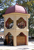 Kiosk and cafe  in the Parque Central or main plaza of the Spanish colonial town of Gracias, Lempira, Honduras...