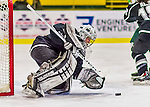 1 February 2015: Providence College Friar Goaltender Sarah Bryant, a Junior from Bethlehem, PA, makes a second period save against the University of Vermont Catamounts at Gutterson Fieldhouse in Burlington, Vermont. The Friars fell to the Lady Cats 7-3 in Hockey East play. Mandatory Credit: Ed Wolfstein Photo *** RAW (NEF) Image File Available ***