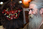 Briton Jake Davies poses for a photo with one of his Iwami-Kagura masks -- the Akaoni (red demon) from Iwami-Kagura dance --  at his home in Sakurae Village, Shimane Prefecture, Japan on 28 June 2011..Photographer: Robert Gilhooly