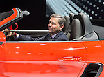 KLAUS ZELLMER, President and CEO of Porsche Cars North America, introduces the Porsche 718 Boxster S, that he's sitting in driver's seat of, which made its North American premiere at the New York International Auto Show 2016, at the Jacob Javits Center. This was Press Preview Day one of NYIAS, and the Trade Show will be open to the public for ten days, March 25th through April 3rd. of