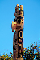 Upper portion of newly-erected, and unweathered, Respect to Bill Reid Pole at the Museum of Anthropology, University of British Columbia, Vancouver, BC.