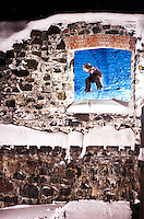 Nick Houle 180 through a window, old mill in Saguenay