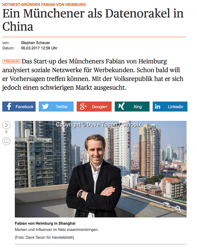Handelsblatt - Fabian Von Hamburg of Hontest in Shanghai, China      published 06MARCH2017