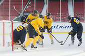 Rasmus Tirronen (Merrimack - 32), Chris LeBlanc (Merrimack - 16), ?, ?, Justin Mansfield (Merrimack - 27) -  - The participating teams in Hockey East's first doubleheader during Frozen Fenway practiced on January 3, 2014 at Fenway Park in Boston, Massachusetts.