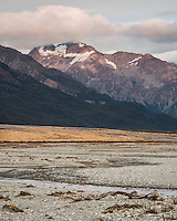 Waimakariri River flats with Black Range of Southern Alps at dawn, Arthur's Pass National Park, South Westland, South Island, New Zealand, NZ