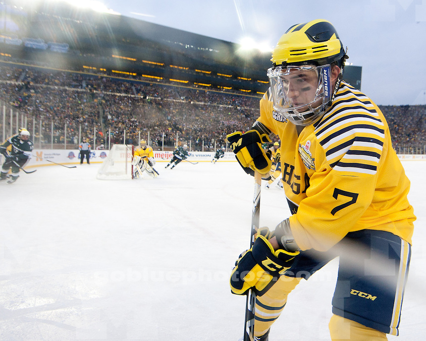 """University of Michigan men's ice hockey 5-0 victory over Michigan State University in the """"Big Chill at the Big House"""" at Michigan Stadium in Ann Arbor, MI, on December 11, 2010."""