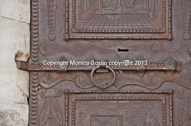 Madonna di Tirano church door, the church is dedicated to the appearance of the Virgn to Mario Degli Omodei in 1504 and located in Tirano, Italy