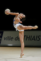 Anahi Sosa of Argentina turns pivot with ball during exhibition before competition at 2006 Thiais Grand Prix in Paris, France on March 25, 2006.  (Photo by Tom Theobald)