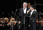 Opera tenor singer Placido Domingo (L) performs an opera song along with his son Placido Domingo Jr.during the Concert of the Angel in Mexico City, December 19, 2009. Domingo is one of the most important opera singers ans he has made over one hundred recordings and appeared in different films too. Photo by Heriberto Rodriguez