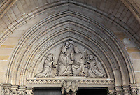 General view of the tympanum depicting the coronation of the Virgin Mary in the porch, entrance to the lower chapel , La Sainte-Chapelle (The Holy Chapel), 1248, Paris, France. La Sainte-Chapelle was commissioned by King Louis IX to house his collection of Passion Relics, including the Crown of Thorns. The Sainte-Chapelle is considered among the highest achievements of the Rayonnant period of Gothic architecture. Picture by Manuel Cohen