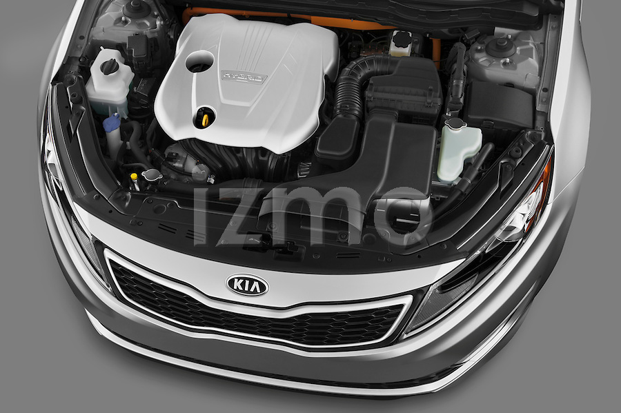 High angle engine detail of a 2011 Kia Optima Hybrid .