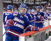 Zack Kamrass (UML - 27) - The visiting University of Massachusetts Lowell River Hawks defeated the Boston University Terriers 3-0 on Friday, February 22, 2013, at Agganis Arena in Boston, Massachusetts.