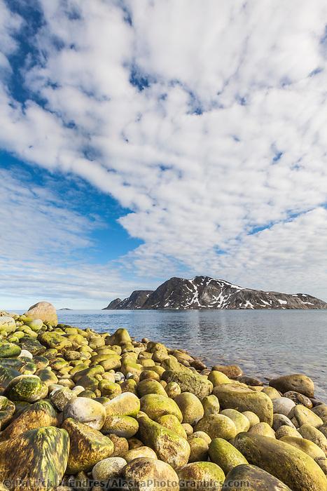 Shoreline boulders along the coast of Fuglesongen island, Svalbard