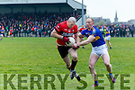 Tarbert's Donal Leahy and St. Senans Breandan Whealan  in the The Bernard O'Callaghan Memorial Senior Football Championship 2016 Semi Final  at Frank Sheehy Park, Listowel on Sunday