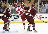 Thatcher Demko (BC - 30), Mike Moran (BU - 11), Steven Santini (BC - 6) - The Boston College Eagles defeated the Boston University Terriers 3-1 (EN) in their opening round game of the 2014 Beanpot on Monday, February 3, 2014, at TD Garden in Boston, Massachusetts.