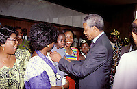 © Giacomo Pirozzi / Panos Pictures..IVORY COAST..South African President Nelson Mandela meeting the public on a visit to the Ivory Coast.