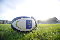 A general view of European Rugby Champions Cup branded balls. European Rugby Champions Cup match, between Bath Rugby and Leinster Rugby on November 21, 2015 at the Recreation Ground in Bath, England. Photo by: Patrick Khachfe / Onside Images