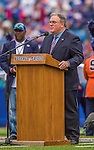 14 September 2014: Buffalo Bills radio broadcaster John Murphy opens with Ralph Wilson tribute remarks prior to a game against the Miami Dolphins at Ralph Wilson Stadium in Orchard Park, NY. The Bills defeated the Dolphins 29-10 to win their home opener and start the season with a 2-0 record. Mandatory Credit: Ed Wolfstein Photo *** RAW (NEF) Image File Available ***