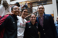 NASHVILLE, TN - The Stanford Cardinal arrives at the team entrance before competing against the UConn Huskies in Nashville, TN for the second game of the 2014 NCAA Final Four semifinals at the Bridgestone Arena.