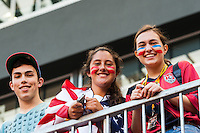 United States (USA) fans pose for a photo. The women's national team of the United States defeated the Korea Republic 5-0 during an international friendly at Red Bull Arena in Harrison, NJ, on June 20, 2013.