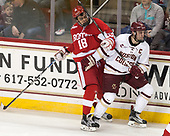 Jordan Greenway (BU - 18), Chris Calnan (BC - 11) - The visiting Boston University Terriers defeated the Boston College Eagles 3-0 on Monday, January 16, 2017, at Kelley Rink in Conte Forum in Chestnut Hill, Massachusetts.
