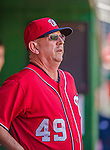 7 September 2014: Washington Nationals defensive coordinator and advance coach Mark Weidemaier looks out from the dugout prior to a game against the Philadelphia Phillies at Nationals Park in Washington, DC. The Nationals defeated the Phillies 3-2 to salvage the final game of their 3-game series. Mandatory Credit: Ed Wolfstein Photo *** RAW (NEF) Image File Available ***