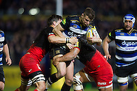 Ollie Devoto of Bath Rugby takes on the Saracens defence. Aviva Premiership match, between Bath Rugby and Saracens on April 1, 2016 at the Recreation Ground in Bath, England. Photo by: Patrick Khachfe / Onside Images