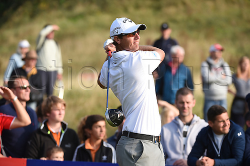 20.09.2014.  Newport, Wales. ISPS Handa Wales Open Golf. Day 3. Nicolas Colsaerts plays a provisional on 18