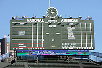 31 December 2008:  NHL Detroit Red Wings and Chicago Blackhawks practice at the home of the MLB Chicago Cubs Wrigley Field baseball stadium outdoors on New Years Eve before the 2009 NHL Winter Classic.  PHATS SPHEM project. Outfield scoreboard.