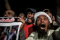 In this Wednesday, Jul. 24, 2013 photo, supporters of the ousted president Mohammed Morsi demonstrate in the nearby streets to Al-Rabaa mosque in the Nasr City neighbourhood of Cairo. (Photo/Narciso Contreras).