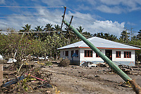 A fallen electricity pylon at Lalomanu in the Aleipata tourist district. More than 170 people died when a tsunami triggered by an 8.3 magnitude earthquake hit Samoa and neighbouring Pacific islands on 29/09/2009. Samoa (formerly known as Western Samoa)..