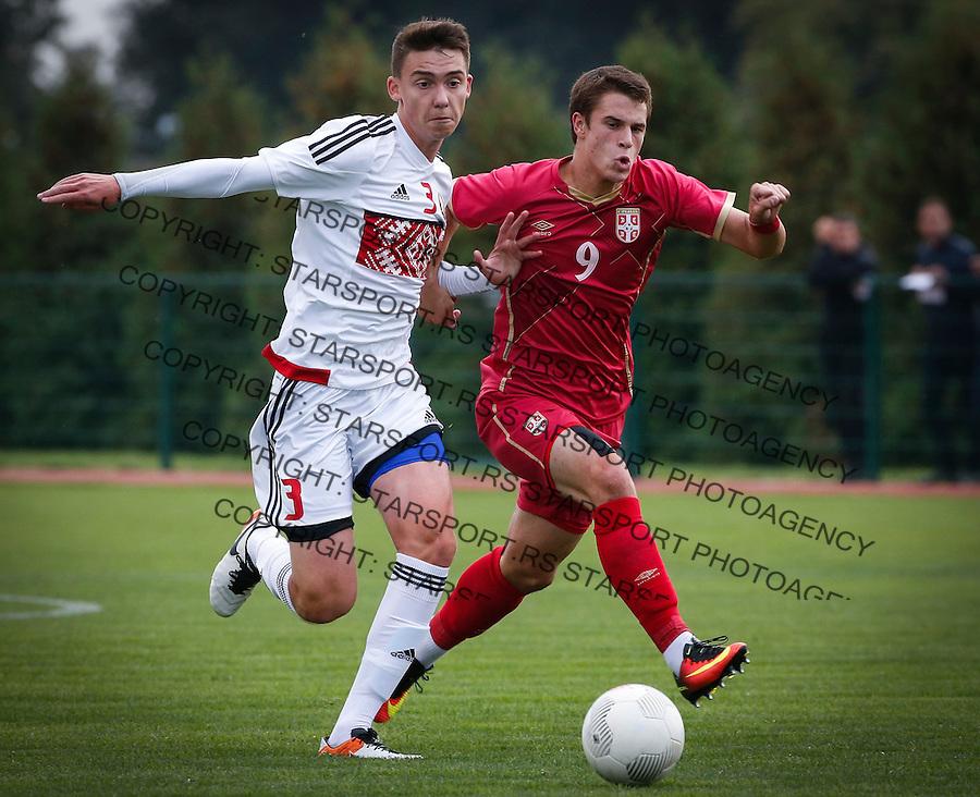 Fudbal Soccer<br /> International Friendly-Prijateljski mec<br /> Srbija U17 v Belorusiaj U17<br /> Filip Stuparevic (R) and Daniil Miroshnikau<br /> Stara Pazova, 20.09.2016<br /> foto: Srdjan Stevanovic/Starsportphoto &copy;