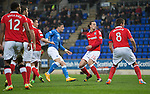 St Johnstone v Ross County....29.11.14   Scottish Cup 4th Round<br /> Michael O'Halloran scores to make it 1-0<br /> Picture by Graeme Hart.<br /> Copyright Perthshire Picture Agency<br /> Tel: 01738 623350  Mobile: 07990 594431
