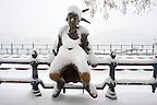 Bronze statue on the Danube Bank in the snow - Kiskiralylany [Little Prince[ by Laszlo Marton 1989